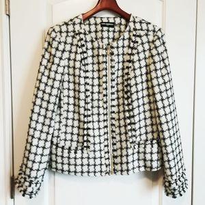Karl Lagerfeld Black and White Tweed Fringe Blazer